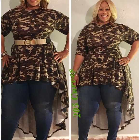 Plus size high low army fatigue top. Brand new Boutique